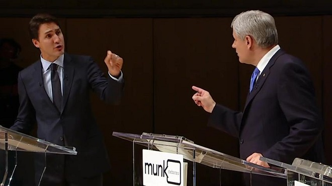 Harper and Trudeau spar over C-24 at Munk debate