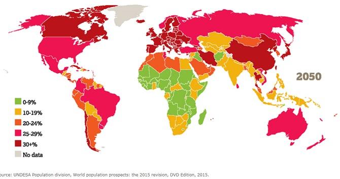 مقایسه جمعیت پیر بالای شصت سال دنیا در سالهای 2015 و 2050