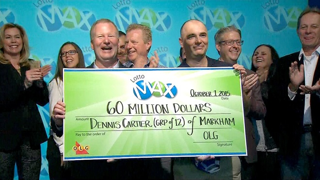 Group of 12 co-workers claim $60M Lotto Max jackpot