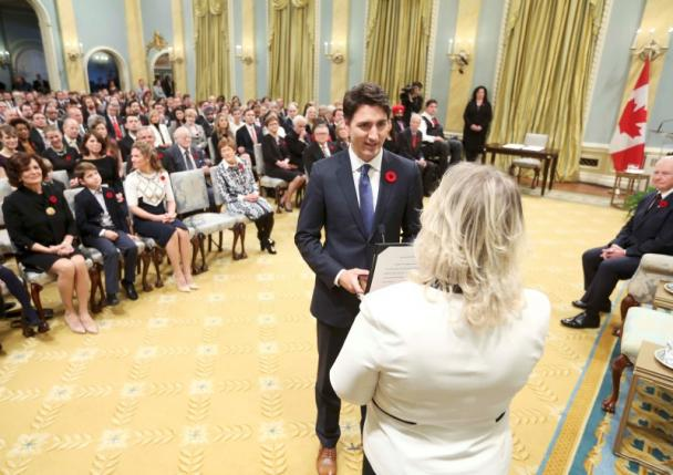 Justin Trudeau is sworn-in as Canada's 23rd prime minister during a ceremony at Rideau Hall in Ottawa November 4, 2015. REUTERS/Chris Wattie