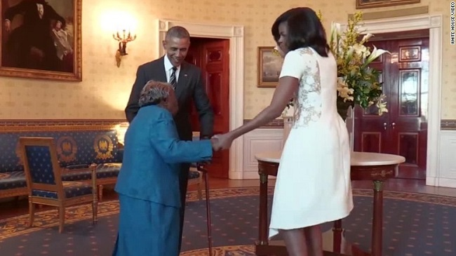 106-year-old happy dances with the Obamas