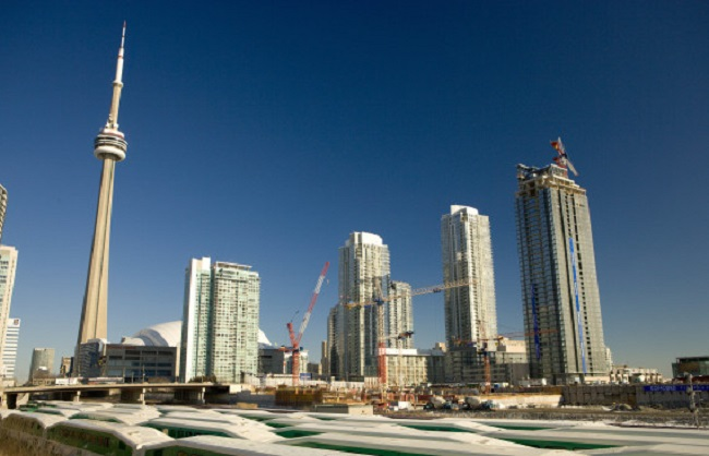 Condos Under Construction, CN Tower and GO Trains, Toronto, Ontario