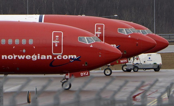 FILE PHOTO: File photo shows Boeing 737-800 aircrafts belonging to budget carrier Norwegian Air at Stockholm Arlanda Airport