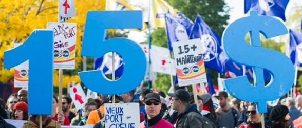 تظاهرات صدها نفر در مونتریال در حمایت از حداقل حقوق 15 دلاری