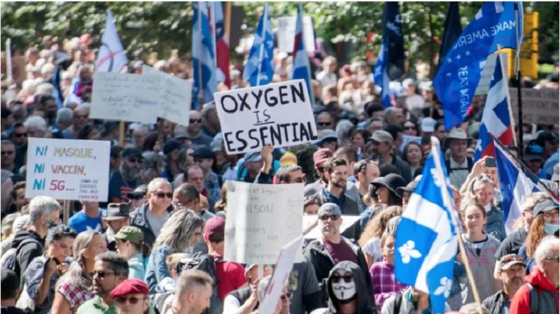 برگزاری راهپیمایی بزرگ «ضدماسک» در مونترال با حضور گروه های مذهبی و سیاسی کبک