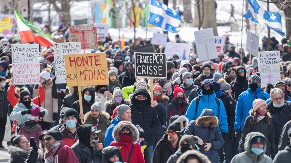 دستگیری 10 نفر و جریمه بیش از 140 نفر در بزرگترین تظاهرات ضد قرنطینه مونتریال